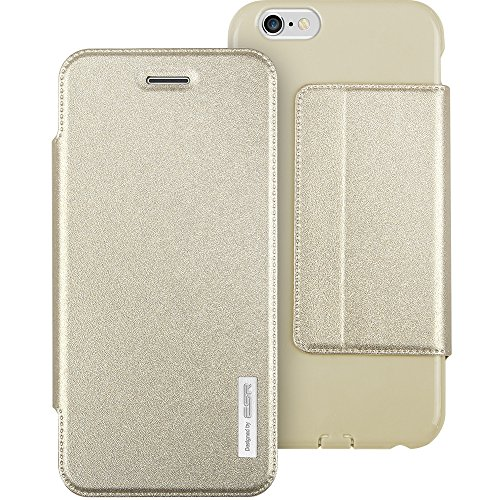 iPhone 6 Hülle, ESR® Weiche Silikon Flip Schutzhülle mit Stehen und Einstellbarem Blickwinkel Funktion TPU Bumper für iPhone 6 (4,7 Zoll)- Champagne Gold Champagne Gold