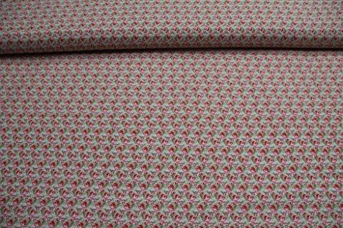 Qualität Baumwolle Stoff (Stoff / Meterware / ab 25cm / beste Baumwoll-Qualität / Baumwolle Liebesgetummel (Tante Ema) rot grün auf weiß)
