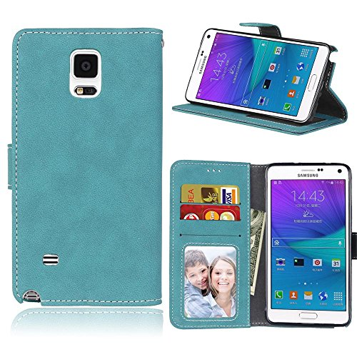 Price comparison product image For Samsung Galaxy Note 4 Case Blue, Cozy Hut Retro Frosted Design Luxury Flip Slim Fit Premium PU Leather Case, [3 Card Slots][Metal Magnetic Closure] with Stand Wallet Card Holder Case Cover For Samsung Galaxy Note 4 / SM-N9100 5, 7 Inch - Blue frosted