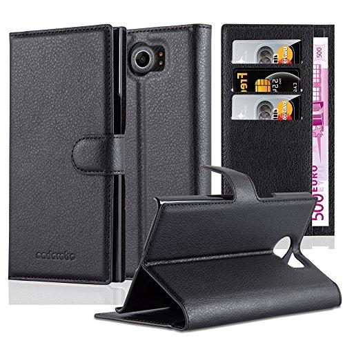 Cadorabo Hülle für BlackBerry PRIV - Hülle in Phantom SCHWARZ – Handyhülle mit Kartenfach und Standfunktion - Case Cover Schutzhülle Etui Tasche Book Klapp Style
