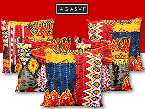 Agasvi Cotton Red Ikat Kantha Cushion covers 16x16 set of 5 Multicolor...