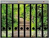 Wallario Ordnerrücken Sticker Steintreppe im Wald in Premiumqualität - Größe 8 x 3,5 x 30 cm, passend für 8 Schmale Ordnerrücken