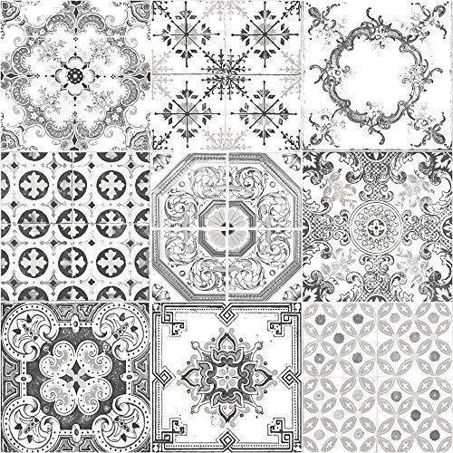 Muriva Tapete Fliesen Muster Retro Floral Motiv Küche Badezimmer Vinyl Tapete Black J95609 -
