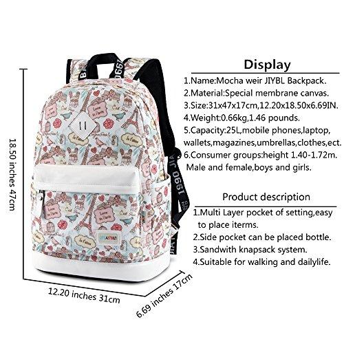 Mocha weir JIAYBL Laptop Rucksack Eiffelturm -Rucksack beiläufige Art Bookbags Kind-Schule-Rucksack College-Reisen Rucksack USA- Flagge European Style (Blau-Eiffelturm) Rosa Eiffelturm