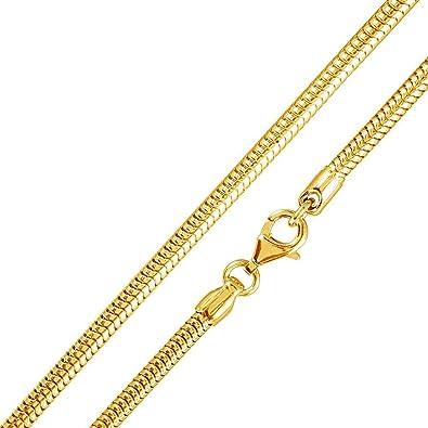 Kette gelbgold  MATERIA 925 Silber Schlangenkette Gold - Damen Halskette 18K ...