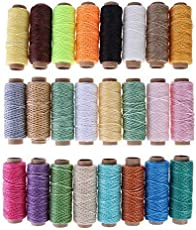 Buydee 24PCS 50m 150D Leather Sewing Waxed Wax Thread Hand Stitching Cord Craft DIY Project (Style A)