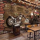 Chan-Mei De grandes murales 3D Voiture Moto Retro Wood-Grain Famille brique Cafe Wallpaper 120cmX120cm