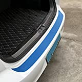 JenNiFer 108X7.2Cm Carbon Fiber Heckstoßstange Auto Aufkleber Protector Trim 7 Farben Für Vw Golf GTI R20 Mk2 - Carbon Blue