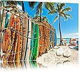 Surfboards am Strand Format: 120x80 auf Leinwand, XXL riesige Bilder fertig gerahmt mit Keilrahmen, Kunstdruck auf Wandbild mit Rahmen, günstiger als Gemälde oder Ölbild, kein Poster oder Plakat