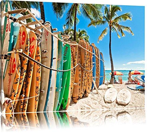 Surfboards am Strand Format: 100x70 auf Leinwand, XXL riesige Bilder fertig gerahmt mit Keilrahmen, Kunstdruck auf Wandbild mit Rahmen, günstiger als Gemälde oder Ölbild, kein Poster oder Plakat