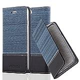 Cadorabo Hülle für Apple iPhone 6 / iPhone 6S - Hülle in DUNKEL BLAU SCHWARZ – Handyhülle mit Standfunktion und Kartenfach im Stoff Design - Case Cover Schutzhülle Etui Tasche Book