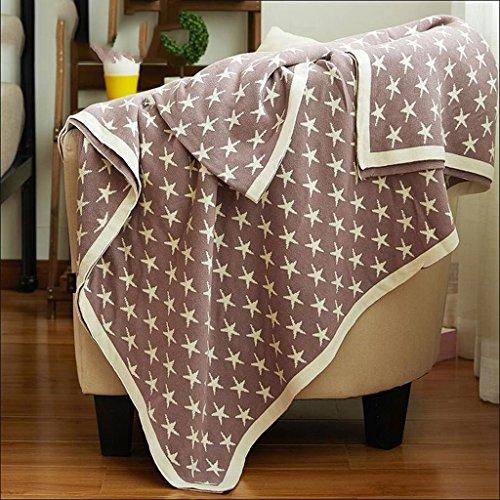 YAOHAOHAO Braun Sterne Muster gestrickt Baumwolle Handtuch Quilt Einzel Doppel Bett Decke Verdickung Büro Nap Nap Decke (150*200cm)