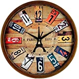 "V2A Elios 12"" Round Vintage Wooden Look Wall Clock with Glass for Home/Bedroom/Living Room/Kitchen"