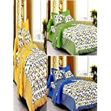 UniqChoice 100% Pure Cotton Jaipuri Traditional 3 Double Bed Sheet With 6 Pillow Cover (Pack Of 9)
