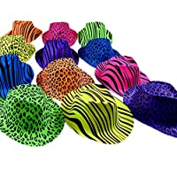 Novelty Place [Party Stars Neon Color Animal Print Plastic Party Hats for Kids Teens and Adult (Pack of 12)