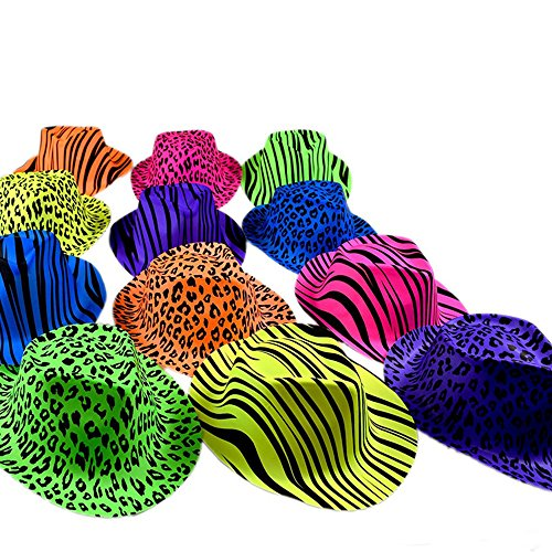 Novelty Place? [Party Stars] Neon Color Animal Zebra and Leopard Print Plastic Gangster Fedora Party Hats for Adult Teens and Kids by Novelty Place