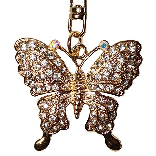 Utrendo Schlüsselanhänger Glücksbringer Schmetterling mit Glitzersteinen (Akzent Handtasche Quaste Hobo)