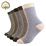 5 Pairs Women Winter Knitting Thicken Warm Cotton Socks Thermal Socks Assorted Patterns UK 4-6.5 EU 35-39 (Vintage 2-Men)