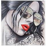 Ölgemälde Sonnenbrille, 100% handgemaltes Wandbild Gemälde XL, 80x80cm