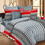 Story@Home 120 TC 100% Cotton Abstract Printed Double Bedsheet 2 Pillow Cover Multi Color