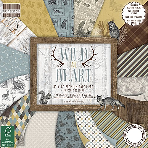First Edition Wild at Heart FSC Papier Pad, Papier, mehrfarbig, 20,3 x 20,3 cm Canvas Pad