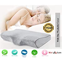 MAULION™ Orthopedic Memory Foam Cervical Neck Pain Relief Contour Sleeping Pillow (Grey)