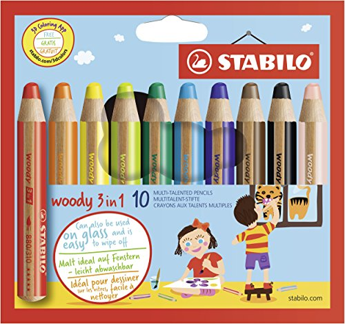 Buntstift, Wasserfarbe & Wachsmalkreide - STABILO woody 3 in 1 - 10er Pack - 10 verschiedene Farben Test