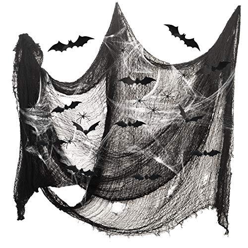 ZERHOK 34tlg Halloween Deko Stoff Dekostoff Gruselig Halloweendeko, 198x83cm Spukhäuser Halloweenstoff mit Spinnen 3D Fledermausnetz Party Dekoration für Fenster Wand Tisch Tür Decke