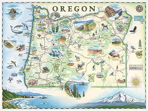 Xplorer Maps Oregon Map Wall Art Poster - authentische handgezeichnete Landkarten in der Alten Welt, antiker Stil, Art Deco, Lithographischer Druck - Oregon Lager
