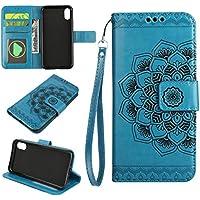 Cozy Hut iPhone X Hülle, iPhone X Hülle Leder Case, Premium Handy Schutzhülle für iPhone X Hülle Leder Wallet Tasche Flip Brieftasche Etui Schale, PU Schutz Etui Schale Blau Mandala Blume Muster D