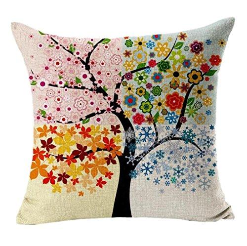 Sannysis® Albero Fiori cuscini di cotone stampato in lino Divano Vintage Federa