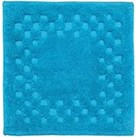 Homescapes Check Border Square Shower Mat , Turquoise Blue, Soft 100%  Cotton 1200 GSM