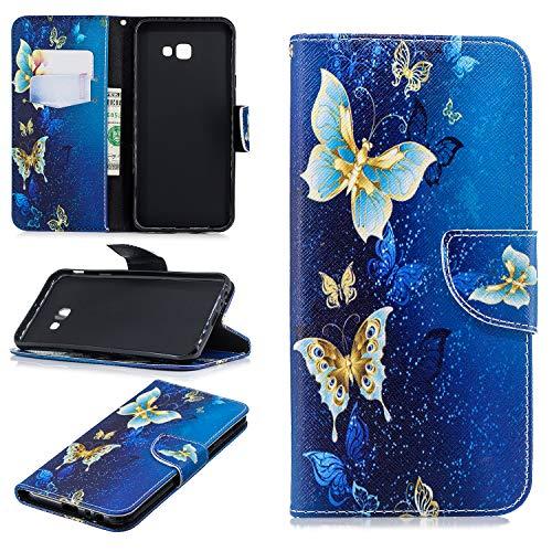 Ostop Brieftasche Leder Hülle für Samsung Galaxy J4 Plus/J4 Prime,Standfunktion Handyhülle Gold Schmetterling Blau PU Muster Magnetverschluss Flip Abdeckung Kartenfach Stoßfest Schutzhülle