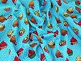 Kleiderstoff aus Baumwoll-Popelin, Cupcake-Druck, Türkis