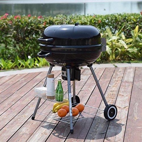 Barbecue a charbon avec couvercle - Acier - 64x53,5x 89 cm