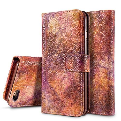 GR Premium PU-Leder horizontalen Flip Stand Wallet Case Cover mit Kartensteckplätzen für iPhone 6 und 6s ( Color : Violet ) Crimson