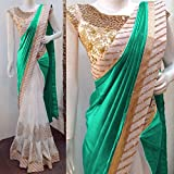 #9: Koroshni Embroidered Firozi Silk Half And Half Georgette Saree With Blouse Material