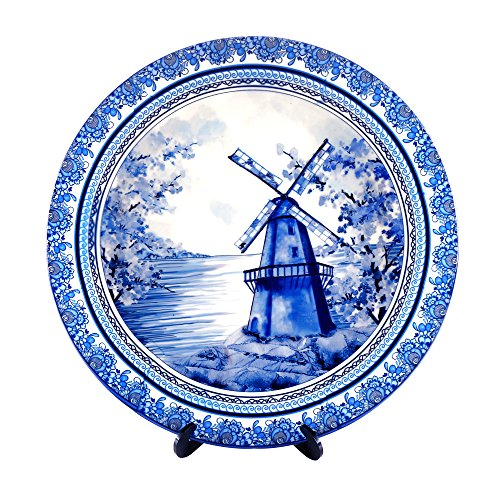 KOLOROBIA DELFTWARE DUTCH BLUE POTTERY INSPIRED HOME DECOR WALL PLATE 7.5 INCH