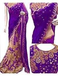 Adorn Fashion Georgette With Nylon Net Purple & Cream Replica Saree