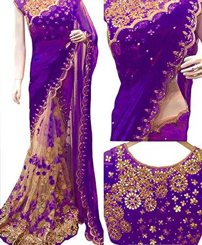 Isha Enterprise Women\'s Georgette, Nylon Mono Net Saree Purple