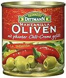 Produkt-Bild: Feinkost Dittmann Grüne Oliven gefüllt mit Chilicreme, 8er Pack (8 x 85 g)