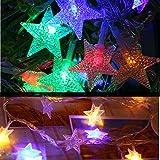 ODJOY-FAN Draussen Wasserdicht Sternenlicht Fernbedienung LED Laternenpfahl Zeichenfolge Licht Dimmbar Mit Fernbedienung Steuerung 5M 40led Beleuchtung Weihnachten Licht (Multicolor,1 PC)