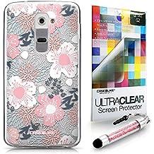 CASEiLIKE flor japonesa 2255 Bumper Prima Híbrido Duro Protección Case Cover Funda Cascara for LG G2 +Protector de Pantalla +Cristal Stylus plumas (Color al azar)