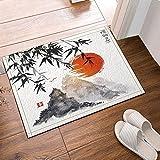 cdhbh Japanischer Bambus Bäume Sonne und Berge Bad Teppiche rutschhemmend Boden Eingänge Outdoor Innen vorne Fußmatte 39,9x 59,9cm Badvorleger Badematte Bad Teppiche