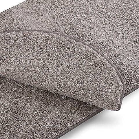 Teppich Läufer uni silbergrau | Qualitätsprodukt aus Deutschland | GUT Siegel | kombinierbar mit Stufenmatten | 19 Breiten und 18 Längen (80 x 150cm)