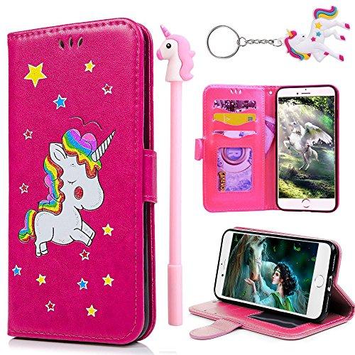 E-Mandala Funda iPhone 7 iPhone 8 Piel Unicornio Carcasa con Tapa Libro PU Cuero Leather Silicona Bumper Case Completa Protectora Folio Tarjetero - Rojo