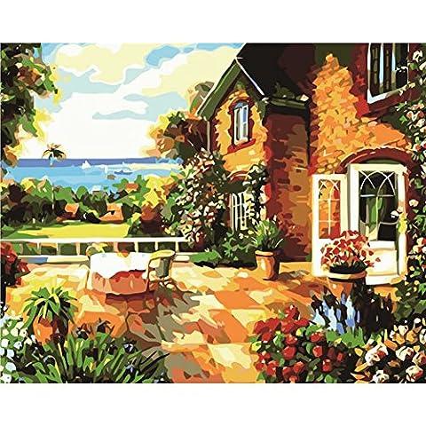 KAYI Villa Beside Ocean Oil Painting by Numbers Kit - Kits de peinture à l'huile de bricolage pour adultes, juniors, enfants - Artisanat artisanal Peinture Décoration intérieure