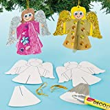 3D Angel Hanging Decorations for Children to Decorate and Hang on Christmas Tree- Pack of 10