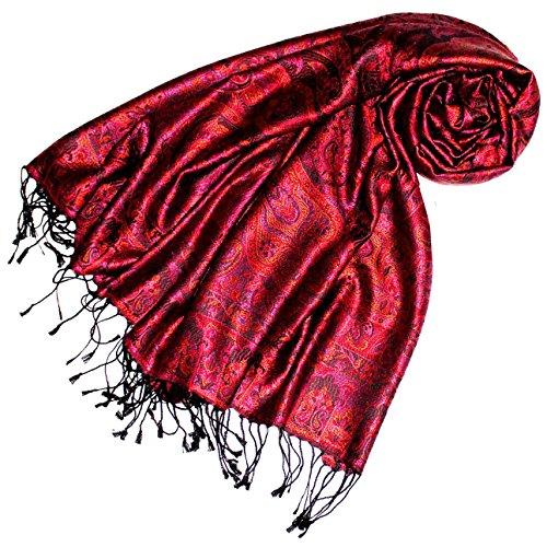 Lorenzo Cana Luxus Pashmina Damen Schal Schaltuch jacquard gewebt 100% Seide 70 x 190 cm Paisley Muster Seidenschal Seidentuch Seidenpashmina harmonische Farben -