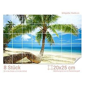 GRAZDesign Fliesenaufkleber Palmen/Strand für Kacheln Bad-Fliesen mit Fliesenbildern überkleben (Fliesenmaß: 20x25cm (BxH)//Bild: 75x50cm (BxH))